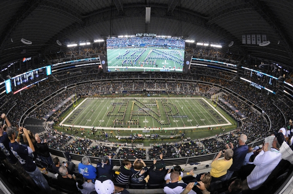 Notre Dame Band performs at AT&T Stadium in Dallas Texas