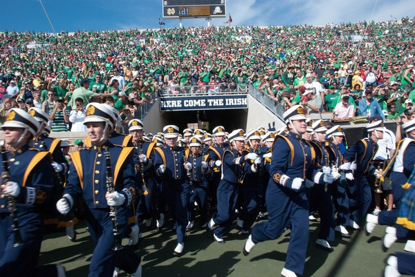The Band runs out of the Tunnel at Notre Dame Stadium
