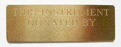 Instrument Donation Plaque